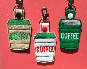 Embroidered Coffee Keychain, Key fob