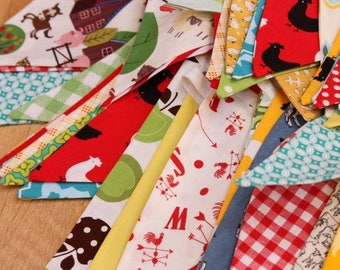 FLASH SALE 40 Percent Off Farm Theme Fabric Bunting, Gender Neutral 9 Large Flags, Banner, Designer's Choice, Ready To Ship Photography Prop