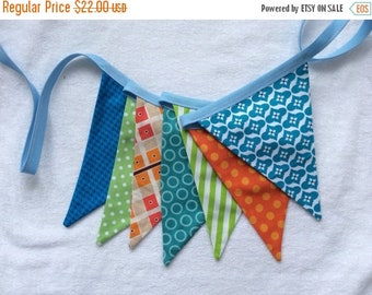 20% OFF Fabric Bunting Banner Flags for Boys or Girls,  See 1st IMAGE, Garland Pennant Flags, Med. Flags in Orange, Blue, n Green Party Deco