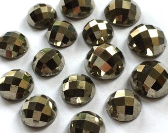 Gemstone Cabochon Pyrite 10mm Checkerboard FOR ONE