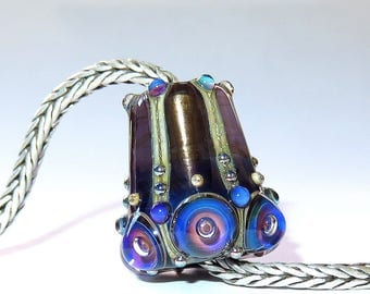 Luccicare Lampwork Bead - Pendulum - FOCAL - Lined with Brass