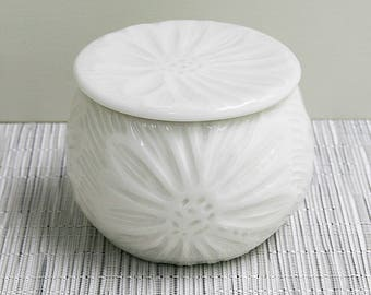 French Butter Dish with White on White Carved Daisy Design