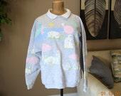 "Sweatshirt Puffy Paint Spumoni By Franko ,Vintage 80's,Elephants, Lions,Hippos,Giraffe,Cheetah at the Beach,Size Large 43"" to  44"","