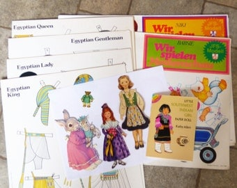 Paperdoll collection lot 13  Egyptian Bear Rabbit Baby Native Indian uncut paper doll book costumes clothing miniature German