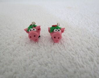 Pink Pig Holly and Berries Original Handmade Cute Christmas Pig Earrings 1 pr by Shannon Ivins