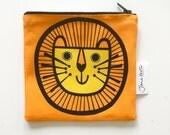 NEW lion fabric purse / make up bag by Jane Foster  - Scandi retro lion