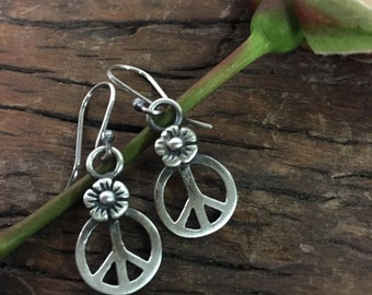 Peace Sign Flower Power Made To Order Earrings