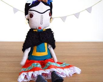 Frida Kahlo Doll, Mexican Art Doll, Art Doll, Rag Doll, Cloth Doll, Fabric Doll, Custom Doll, Custom Portrait Doll, Ethnic Doll