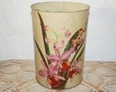 Vintage  toleware lithograph orchids metal trash can vintage metal waste basket