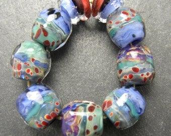 CrazyCatGlass Lampwork Boro Glass Beads Handmade Wildflower Stones