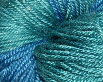 Mermaid in Hand Dyed Poet Seat Fingering Weight Superwash Merino and Silk Yarn