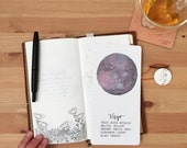 Laminated Constellation Zodiac Watercolor Shitajiki Pencil Notebook for Traveler's Notebook