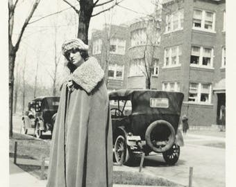 vintage photo Incredible Fur Trimmed Cape Flapper Woman by CAr
