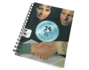 Recycled Record Sketchbook (8.5 in x 5.5 in) - made from Jimmy Swaggart Vinyl Album - 100 Unlined Sheets
