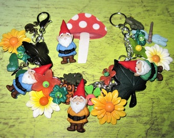 Gnome Charm Bracelet, Garden Bracelet, Gnome Jewelry, Woodland, Forest, Flowers, Leaves, Owl, Squirrel, Butterfly, Spring, Summer, Chunky