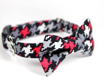 Wedding Dog Collar -  Bow Tie Dog Collar - Houndstooth BowTie Collar - Scotty Houndstooth