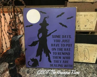 Witch Dealing With Handpainted Primitive Wood Sign Wicca Witchcraft Pagan Folk Art Halloween Wall Hanging Plaque OOAK Vintage