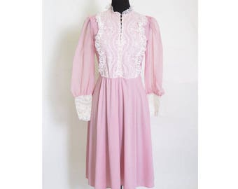 Vintage 1970s Victorian Button up Lace Breast Sheer Pink Boho Dress size M