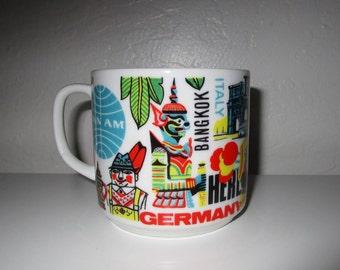 Pan Am Airlines Coffee Mug - Vintage Mid Century Modern Cup Multi-colored Print International Destinations