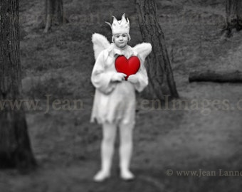 Angel Fairy Spirit With red Heart Photographic Print, Creepy Cute doll troll, Valentines Love Holy Ghost in San Francisco by Jean Lannen