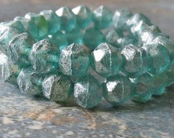 Green Aqua 8mm English Cut Nugget Czech Glass Beads: 20 pc Mercury Nugget Beads