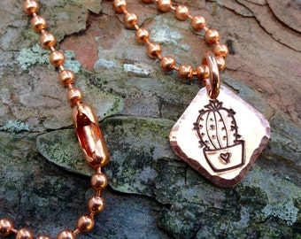 Copper Cactus Love Charm or Necklace, Tiny Catus Charm, Hammered Copper Charm, Rustic Cactus Necklace