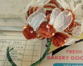 Vintage / Chenille Bees / Bunch of Twelve / Rust and Gray / Bee Mine / Valentine's Day / Floral Pip Eyes / Pipe Cleaners