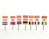 7 Vintage 1960s Advertising Stick Pins - Vivo Country Flags Europe Luxembourg Norway England Germany France Ireland - Metal Lapel Badge Lot