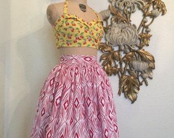 Fall sale 1950s skirt full skirt cotton skirt size x small rockabilly skirt red and white skirt circle skirt 24 waist