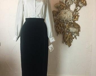Fall sale 1980s skirt pencil skirt vintage skirt size medium David Butler velvet skirt side slit skirt maxi skirt 28 waist