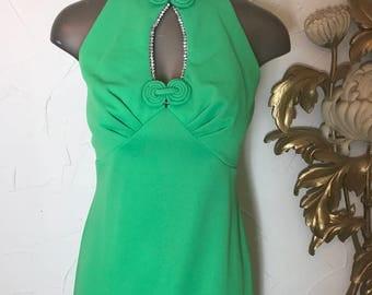 1970s drss maxi dress green dress cocktail dress size small rhinestone dress vintage dress sleeveless dress formal dress