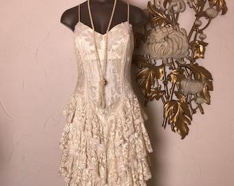 1980s dress ivory dress lace dress size medium prom dress vintage dress party dress spaghetti strap ruffled dress