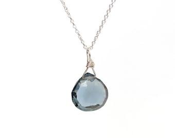London Topaz /Blue Topaz/ Topaz Necklace/Drop Necklace/December Birthstone/Silver Necklace/Gold Necklace/London Topaz Jewelry/Gift for Mom