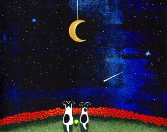 Smooth Fox Terrier Dog original folk art painting by Todd Young 8x10 MOON on a STRING