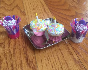 American Girl 18 Inch Doll AG Birthday Cupcake Drink Set