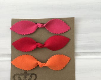 Set of 3 large knot bows, baby bows, suede hair ties, bobby pin bows, toddler bows, kids bows, mommy and me bows, knot bows, bows, kids