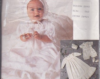 McCalls 2892 Baby Girls Boys Christening Baptism Blessing Gown Slip Booties Bonnet Romper Sewing Pattern Sizes NB-M Out of Print UNCUT