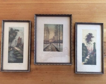 Antique French Etchings, set of 3 Framed Prints. Landscape Scenes, Romantic Laneways. 1915 Signed Ltd. Edition Engravings. Muted, Moody.