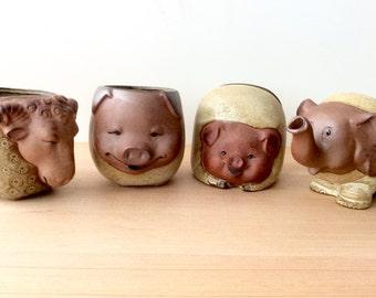 Vintage Mugs, Japan. Animals: Ram Mug, Elephant Creamer, Pig Napkin Holder & Mug. UCTCI / Giftcraft / Gempo. Red Clay Earthenware Pottery.