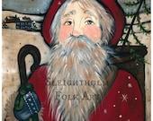 PRINT Country Santa 8x10 folk art christmas art