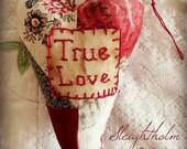 Valentine Heart Lavender Sachet quilted prim decor
