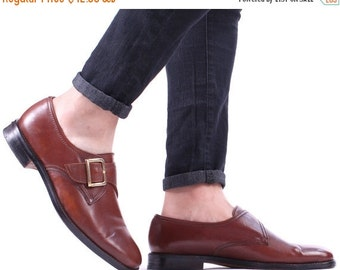 SALE . Brown Oxfords 80s MONK STRAP Mens Shoes 90s Vintage Church's Whiskey Real Leather Retro Buckle Wedding Brogues Men Us 8.5, Eur 42 , U