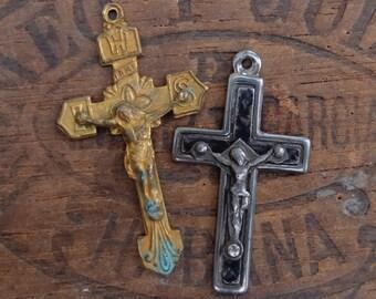 Two Vintage Metal Crosses France