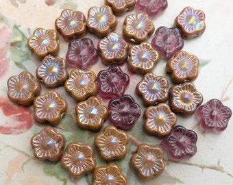 Czech Pressed Glass Beads Flower Assortment