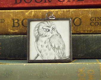 Tasha Tudor Owl Pendant - Vintage Tasha Tudor Book Charm - Black and White Owl Illustration Pendant - Soldered Glass Jewelry - Literary Gift