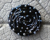 Black with Silver Glass Dots Handmade Glass BUTTON Lampwork Beads by Cherie Sra R114 Flamedworked Glass Black with Shiny Raised Dot Button