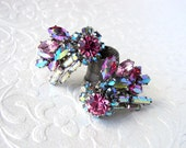 WOW Sparkly Vintage Rhinestone Earrings Clip Back Climbers Aurora Borealis Pink AB Baguettes Pageant Ballroom Formal Wedding Costume Jewelry