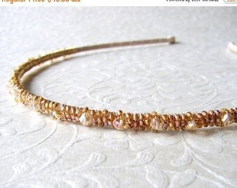 20% SALE Thin Gold Beaded Headband Swarovski® Crystal Diadem Aurora Borealis Champagne Wedding Amber Bohemian Chic Bride Formal Prom Hair Ac