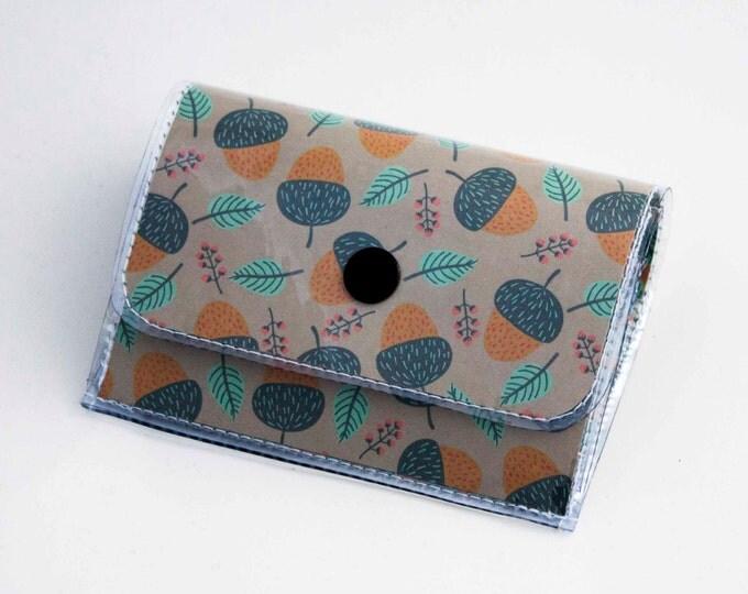 Handmade Vinyl Accordion Wallet - Acorns / small wallet, snap, cute, card case, vinyl wallet, women's wallet, woodland, nut, acorn, nature