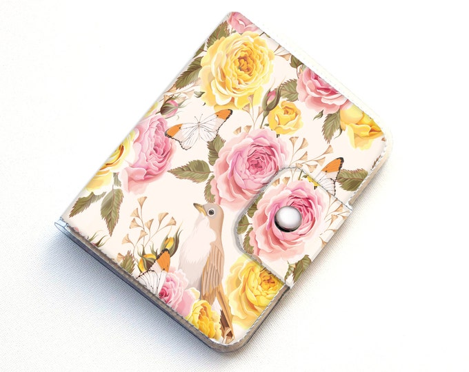 Vinyl Passport Case - Vintage Roses 2 / traveler, passport, adventure, gift, vinyl, woman's, wallet, bird, floral, roses, pretty, polka dot